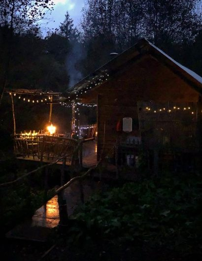 Cabin at Owl Valley,Bideford, UK night view